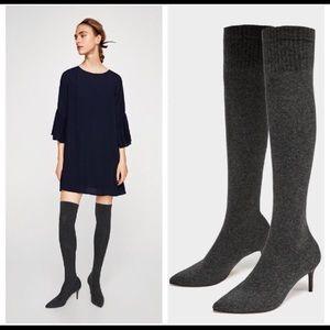 Zara over the knee sock boots/Heels NWT US 8